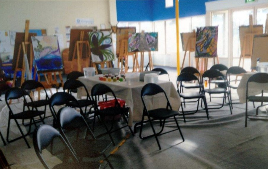 Room is set up for the workshop with Carol Levow from America - click to see an enlarged version of this image