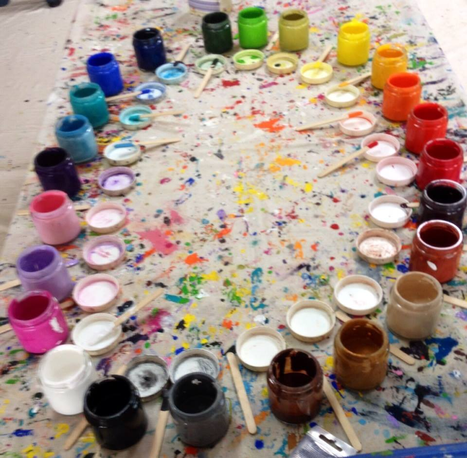 The delicious pots of paint waiting to be used - click to see an enlarged version of this image